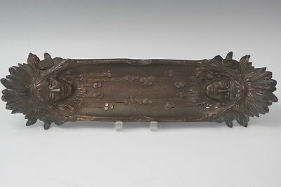 Bronze Cast Double Indian Heads Chief Cigar Ashtray Pencil Holder Vintage Marked
