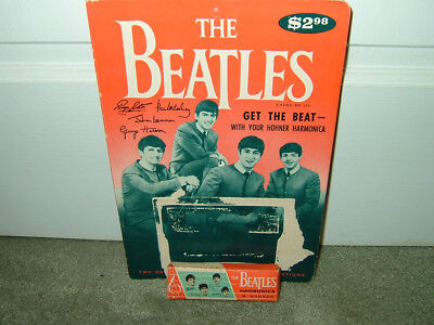 Beatles 1964 Hohner Harmonica Box And Display Card/john Lennon/paul Mccartney