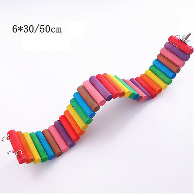 New Colorful Wooden Pet Ladder Bridge Stair Gerbil Hamster Parrot Rodent Rat Toy