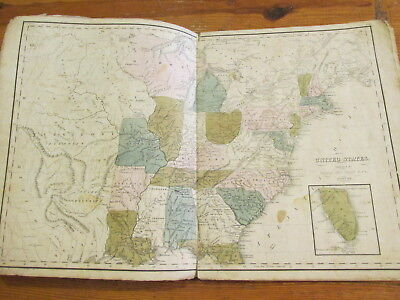 1838 WORCESTER'S MODERN ATLAS 12 Hand-Colored Engraved Maps Rare Book MORDECAI