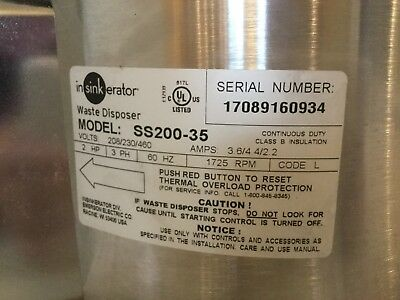 In-Sink-Erator SS-200-35 2 HP Stainless Commercial Disposer