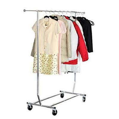 Commercial Heavy Duty Adjustable Clothing Garment Rolling Collapsible Rack