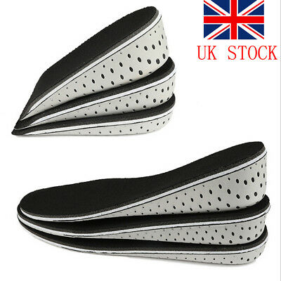 UK Men Women Invisible Heel Lift Taller Shoe Inserts Height Increase Insoles Pad