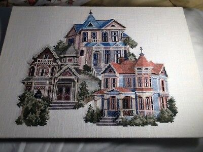 Petit Coss Stitch Picture, Finished, 14 By 11. 3 Beautiful Houses, Free Ship