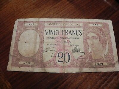 New Caledonia 20 Francs 1929 in (G) Condition Banknote Noumea P-37