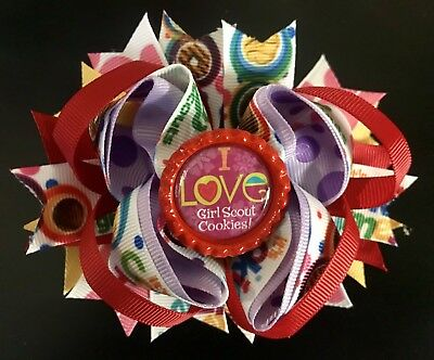 """I Love Girl Scout Cookies on dots grosgrain ribbon 1/"""" x 3 ft"""