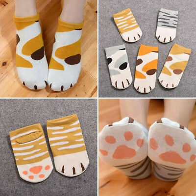1Pair Kawaii Cute Cats Paw Printed Cotton Socks Cartoon Casual Ankle Short Socks
