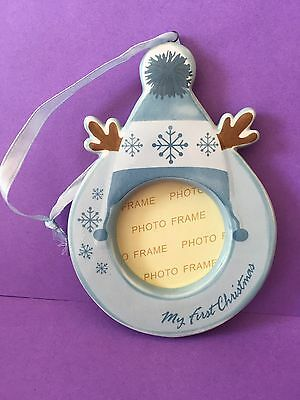 My First Christmas, Hanging Photo Frame ( Christmas Tree Decoration ) Blue