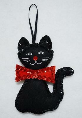 "Hand~Made 4 1/2"" Jeweled Felt Black Cat/kitty W/red Bow Christmas Ornament"