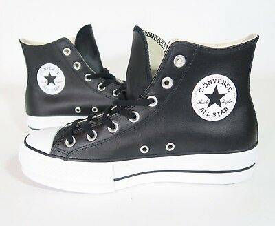 de528a2232b4 Converse Women s Ctas Lift Clean Hi Top Platform 561675C (Leather)  Black white