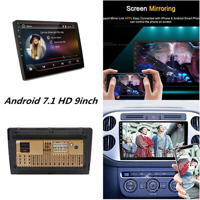 "9"" 2 DIN Android 7.1 WiFi Car GPS Bluetooth Stereo Radio MP5 Player Mirror Link"