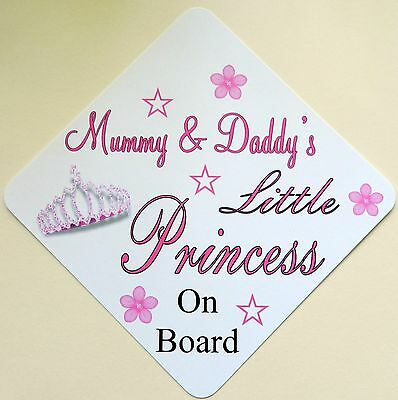 Handmade Non Personalised Little Princess Baby on Board Car Sign ~ White