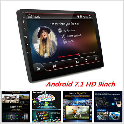 """Bluetooth Car Stereo Radio Android 7.1 2 DIN 9"""" MP5 Player GPS Wifi Mirror Link"""