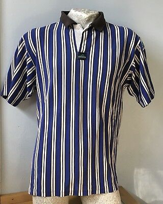VINTAGE SHIRT POLOHEMD adidas equipment gestreift XL schwarz weiß blau