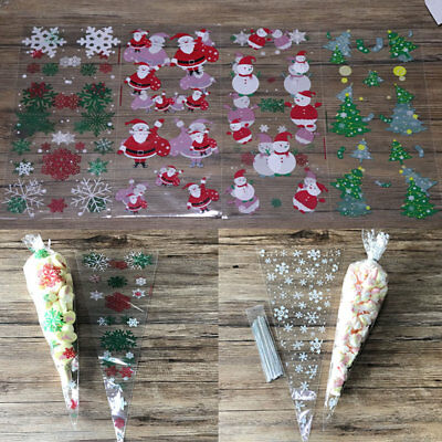 50 Christmas Cello Party Favour Loot Bag Xmas Cellophane Cone Candy Gift Bags