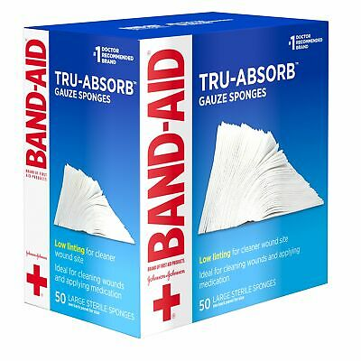 Band Aid Tru-Absorb Gauze Sponges Large 4 in x 4 in First Aid 50 Count, 5 Pack
