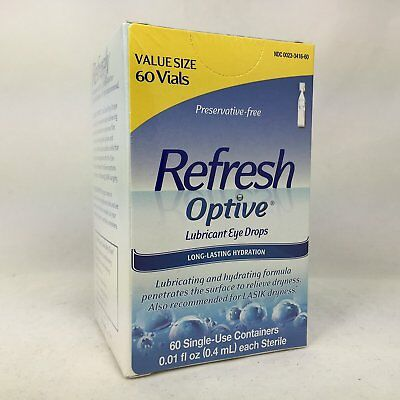 Refresh Optive Lubricant Eye Drops, 60 Single Use Containers Per Pack (6 Pack)