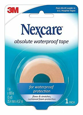 Nexcare Absolute Waterproof First Aid Tape, 1-Inch x 5-Yard Roll (Pack of 6),...