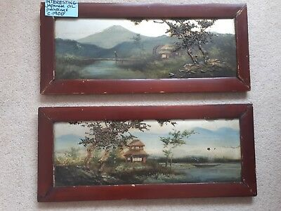 Vintage Japanese Oil Paintings circa 1900 unsigned