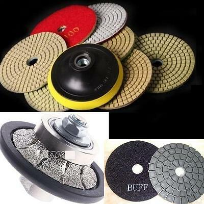 "3/16"" Demi Bullnosing Wheel stone polishing kit 35 Pad granite concrete"