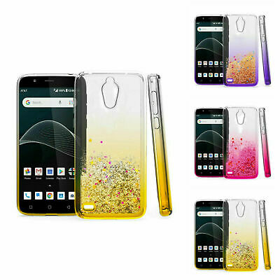For At&t Axia, Cricket Vision Quicksand w/ Glitter Two Tone Color TPU Case