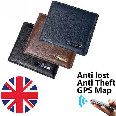 2badd78d3b16a Cowhide Leather Bluetooth Smart Wallet GPS Locator Tracker Anti-Theft  Anti-Lost
