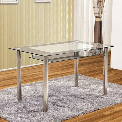 2 Tier Tempered Glass Dining Tables Metal Legs Kitchen Dining Room Black Clear