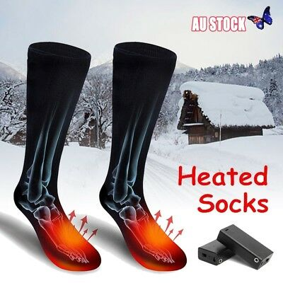 Pair Cotton Battery Heated Hot Boot Socks Feet Foot Warmer Electric Heater Gift