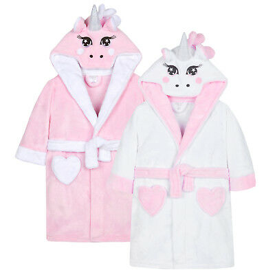 Girls Novelty 3D Unicorn Dressing Gown Kids Cute Novelty Bath Robe Gift Size