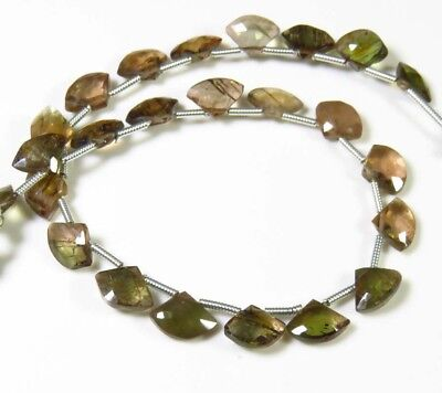 """Andalusite Faceted Beads Fancy Shape Briolette Rare!! Natural Gemstone 8"""" Strand"""