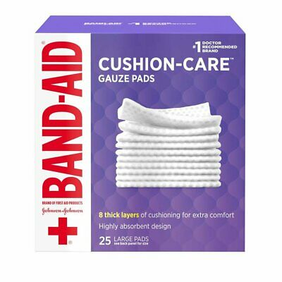 Band-Aid Brand Cushion Care Gauze Pads Large 4 in x 4 in 25 Count, 7 Pack