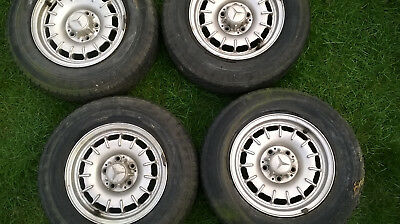 """Mercedes 14"""" Mexican Hat Alloy Wheels R107 w123 with centre caps - SCRAP TYRES"""