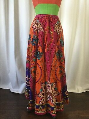 19828360c2 Lucky Coco Womens Skirt Maxi Long Boho Paisley Colorful Orange Elastic Size  L