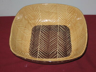Vietri Square Serving Bowl  ---  Tan-Brown, Herringbone Scratch Pattern