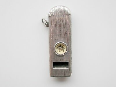 Antique Silver Stamped 800 Vesta Match Safe Compass Whistle Possiby French