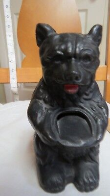 Very nice antique cast iron black honey bear bank heavy solid vintage