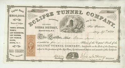 1864 Eclipse Tunnel Company Sierra District Nevada Territory Stock Certificate