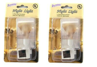 2 Pack Night Lights On Off Switch Bright White Light Nite Wall Plug Home Safety