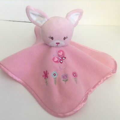 Cherokee Pink Bunny Security Blanket Lovey Embroidery Flowers Butterfly