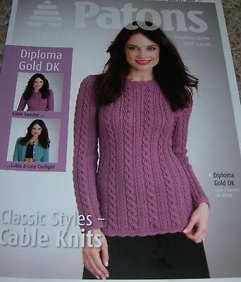 a46cf2b94 Patons Knitting Pattern Lady s DK Cable   Lace Cardigan   Cable Sweater 3849