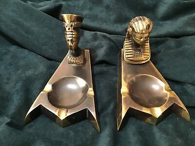2 Ashtrays Vintage Brass Egyptian Ashtray Art Deco Pharaoh Head Egypt Sphinx