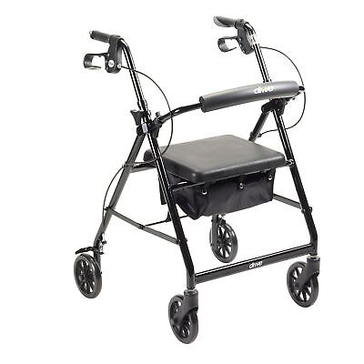 Drive Medical Rollator Removable Padded Seat Back Support Fold Up Walker, Black
