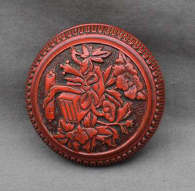 Fine Old Chinese 19th/20th Carved Cinnabar Covered Box