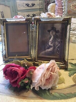Pair Of Antique Picture Frames French Metal Filigree Glass Sides 1920s. #C