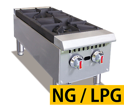 "Pantin 12"" Commercial 2 Burner Countertop Gas Range Hot Plate NSF 60,000 BTU"