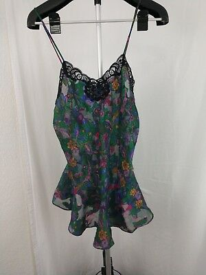 Vintage Victoria Secrets Gold Label Pasley Lace and silk Nighty