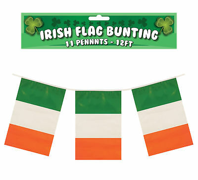 Irish 12ft Flag Bunting - 11 Ireland Flags St Patrick's Day Decoration Banner