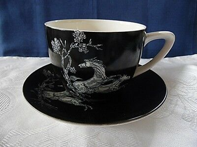 Crown Devon Fieldings Black Cup And Saucer Pegasus