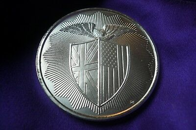 Rare Royal Mint Refinery RMR Shield 1 oz .999 Silver Round Coin US UK Flag Eagle