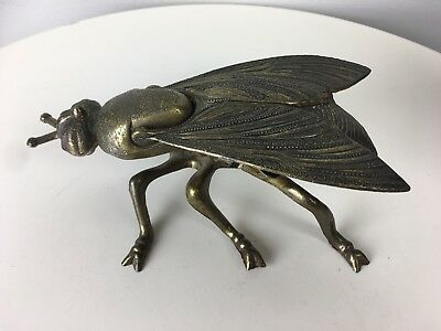 Vintage Brass Fly Bug Ashtray Cast Metal Italy Hinged Ornate Insect